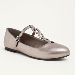 Torrid Circular T-Strap Almond Toe Metallic Flats
